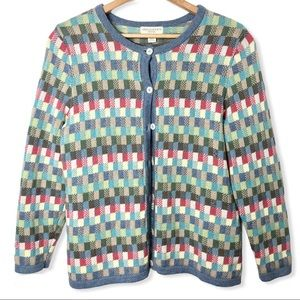 Vintage Colorful Check Knit Cardigan